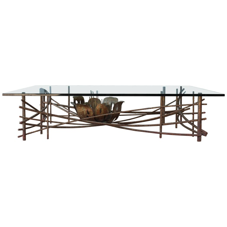 Brutalist Bronze Coffee Table by Silas Seandel, 1960s, USA