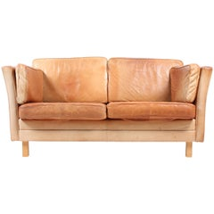 Danish Sofa in Patinated Leather