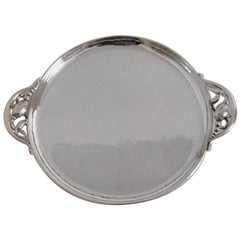 Georg Jensen Sterling Silver Blossom Round Tray with Handles #2AB