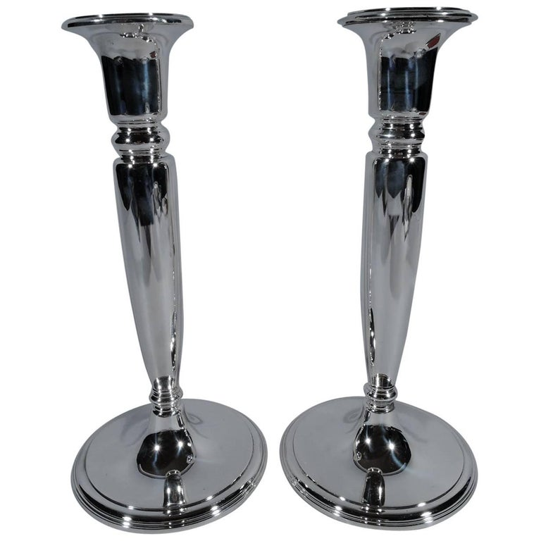 Pair of American Modern Sterling Silver Candlesticks by Tiffany