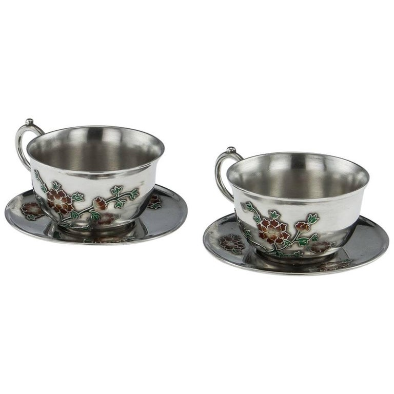 Antique Rare Chinese Export Solid Silver and Enamel Tea Cups, circa 1880