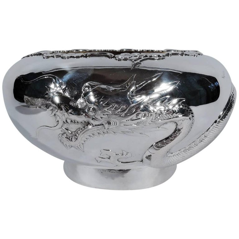 Antique Chinese Export Silver Dragon Bowl