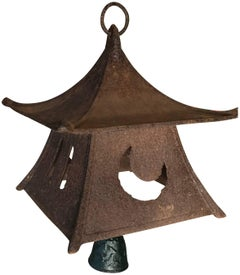 Japanese Large Old Lantern and Wind Chime