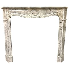 Antique French Victorian Louis XVI Marble Fireplace Surround
