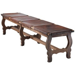 Oak and Leather Bench, Italy, 19th Century