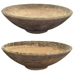 Pair of Extra Large French Stone Garden Planters - Dia 42 (Individually Priced)