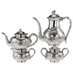 Antique Chinese Solid Silver Large Dragon Four-Piece Tea Set Zeesung, circa 1910