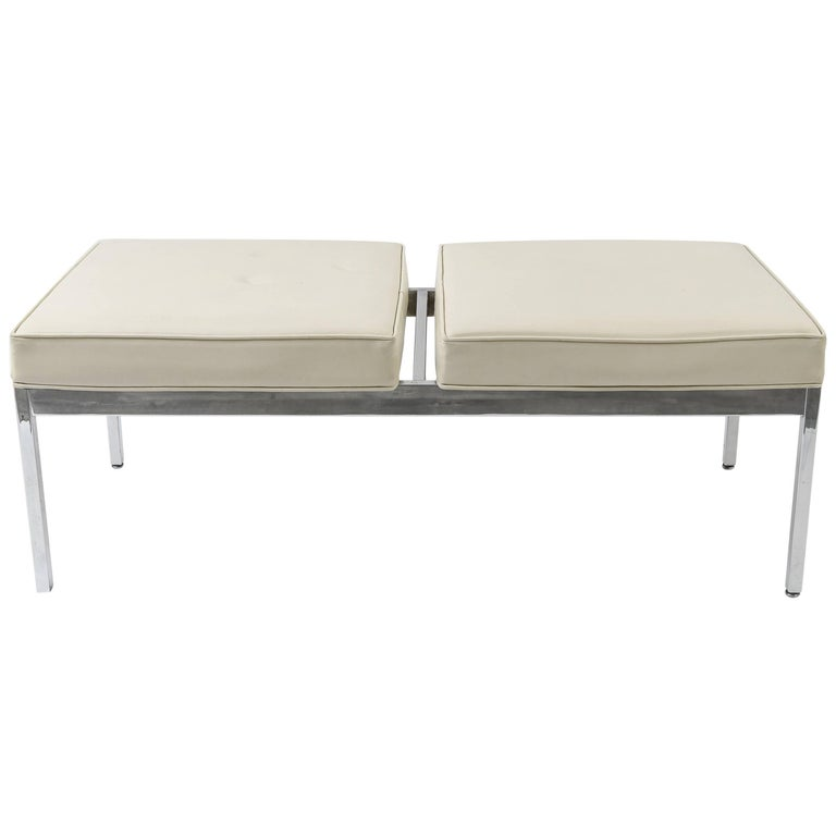 Midcentury Upholstered Bench with Chrome Legs