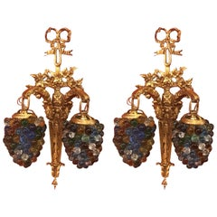 Pair of Italian Gilt Brass and Glass Beaded Sconces