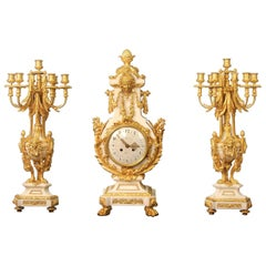 Exceptional Late 19th Century Three-Piece Clock Set by Ferdinand Gervais