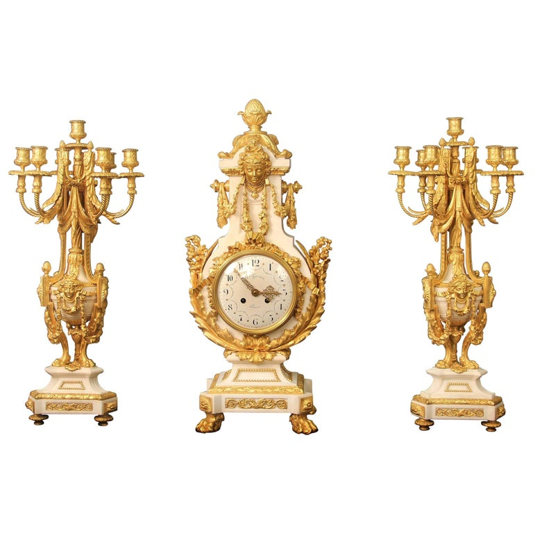 Exceptional Late 19th Century Three-Piece Clock Set by Ferdinand Gervais For Sale
