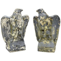 Two Antique Concrete Eagles
