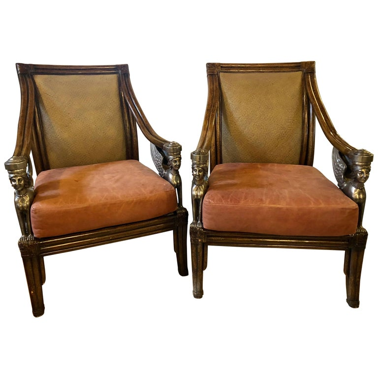 Custom Quality Pair Rattan Armchairs Each with Full Bodied Silver Gilt Sphinxes