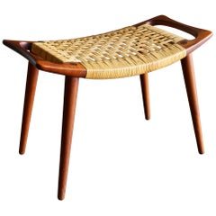 Hans Wegner Teak and Cane Stool for Johannes Hansen