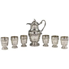 Antique 20th Century Indian Solid Silver Repoussé Water Jug & Goblets, Calcutta