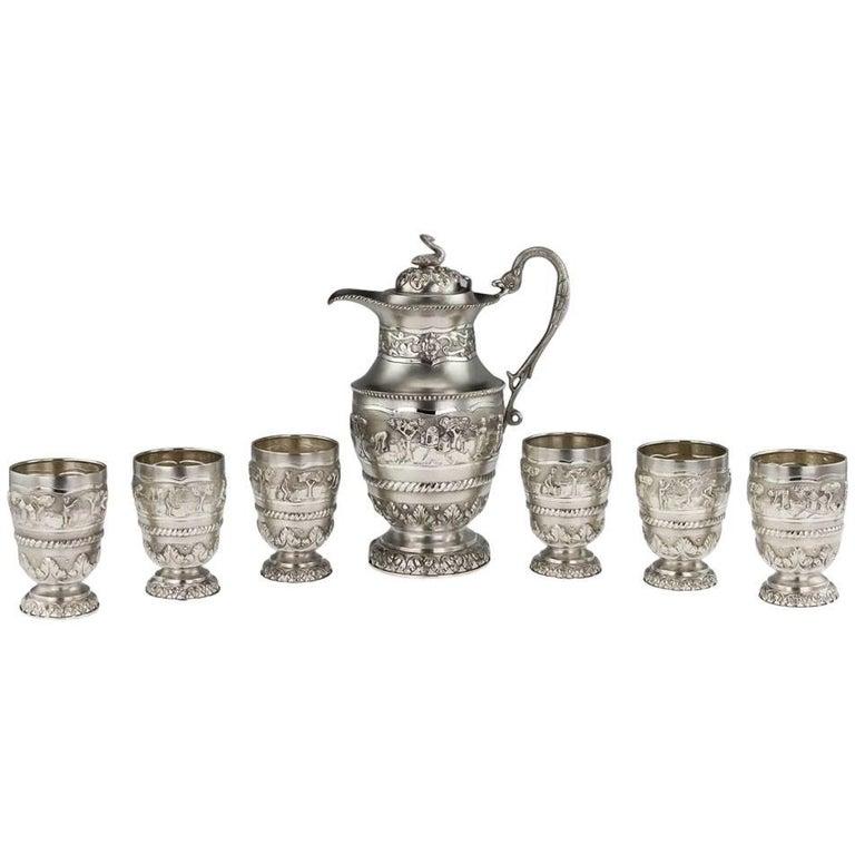 Antique 20th Century Indian Solid Silver Repoussé Water Jug & Goblets, Calcutta