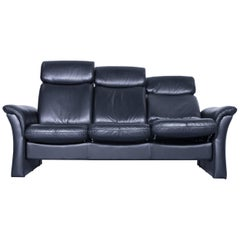 Designer Three-Seat Sofa Black Relax Couch Leather Function Modern Three-Seat