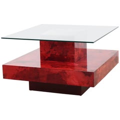 Aldo Tura Aldo Coffee Table in Red Goatskin