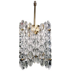 Carl Fagerlund for Orrefors Clear Textured Crystal Four-Plate Chandelier, 1950s