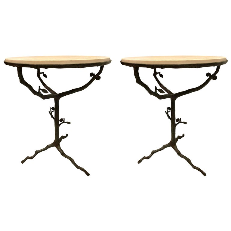 Pair of French Mid-Century Modern Bronze and Stone Side Tables, Giacometti