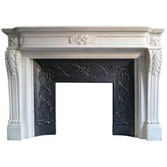 Large White Marble Louis XVI Fireplace Mantel