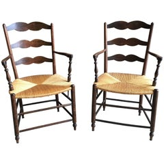 Pair of French Provincial Armchairs with Rush Seats