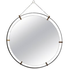 Midcentury Jacques Adnet Style Round Mirror, France, 1950s