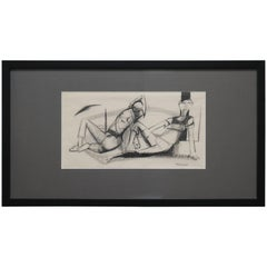 Two Lounging Figures in Charcoal and Ink by Walter Peregoy