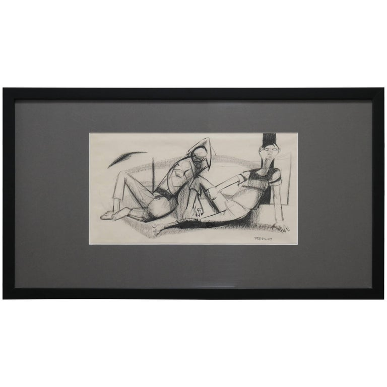 Two Lounging Figures in Charcoal and Ink by Walter Peregoy For Sale