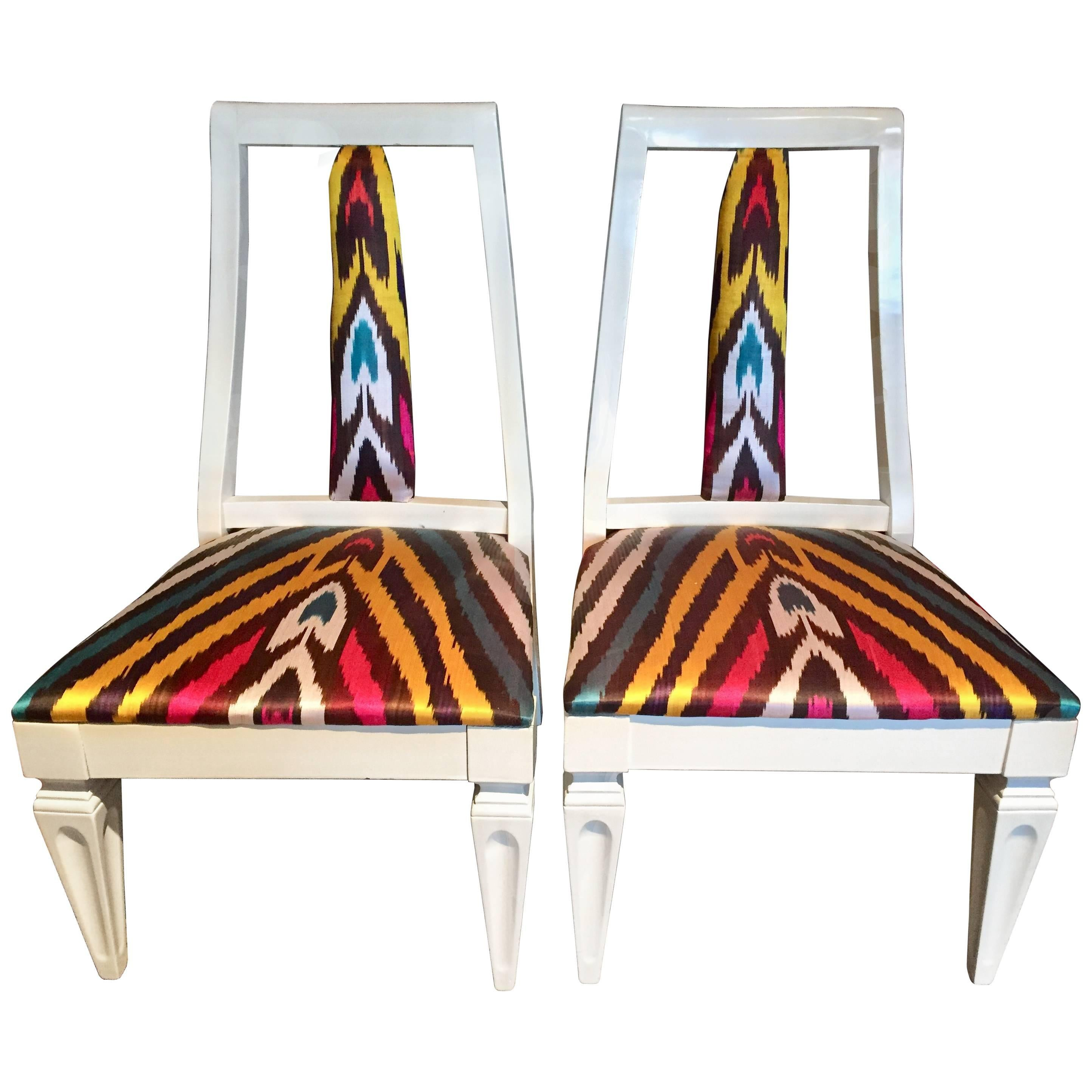 Pair of Silk Ikat Slipper Chairs in the Style of James Mont
