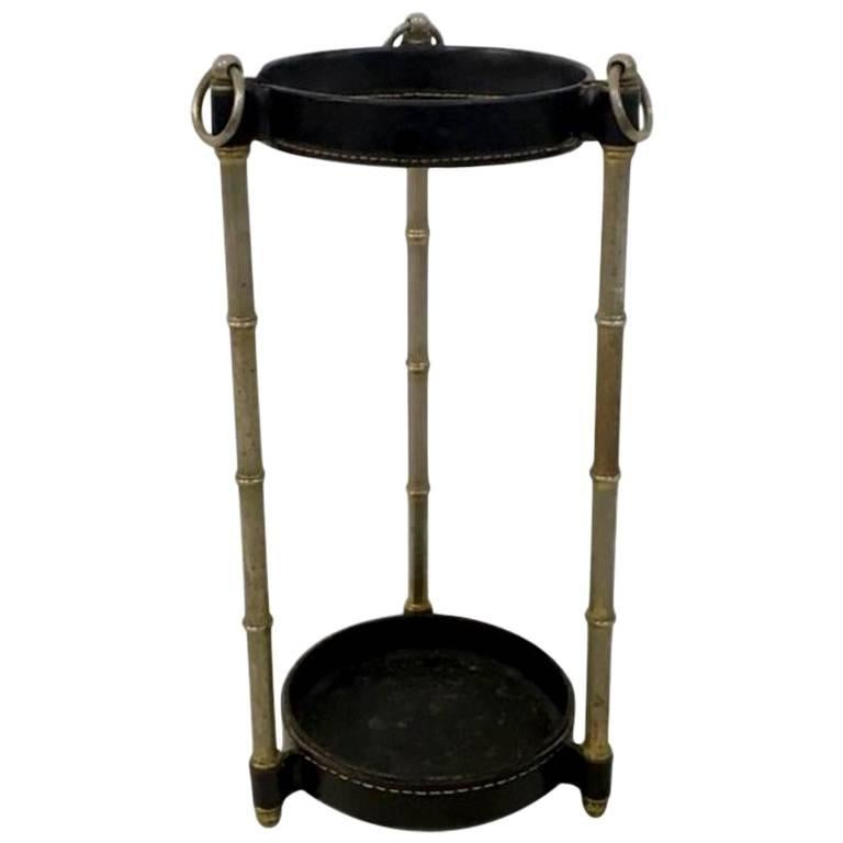 Jacques Adnet Leather and Brass Umbrella Stand