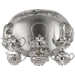 20th Century Japanese Solid Silver Tea & Coffee Service on Tray, circa 1900