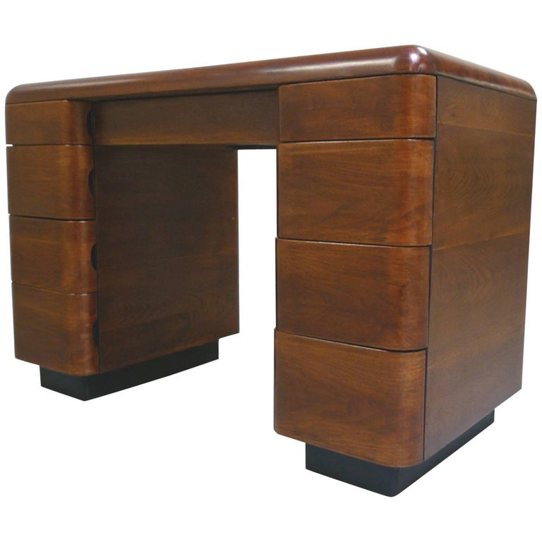 Paul Goldman 1940s Art Deco Rosewood Veneer Desk For Sale