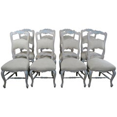 Set of Eight French Country Dining Chairs