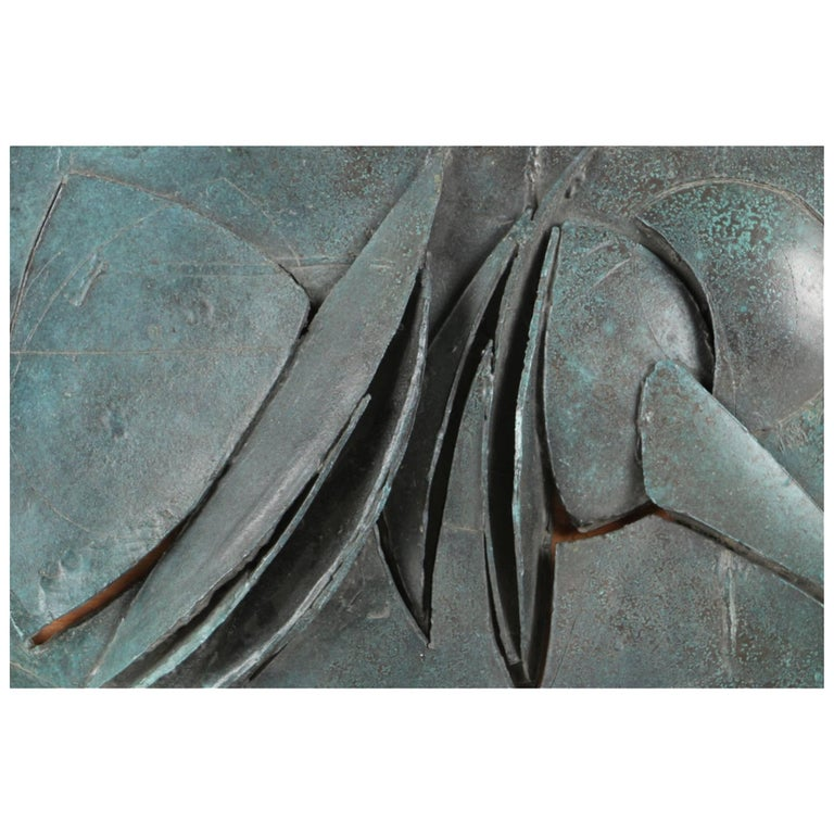 Midcentury Brutalist Style Brass Sculpture Signed Voss, Edition 2/7 For Sale