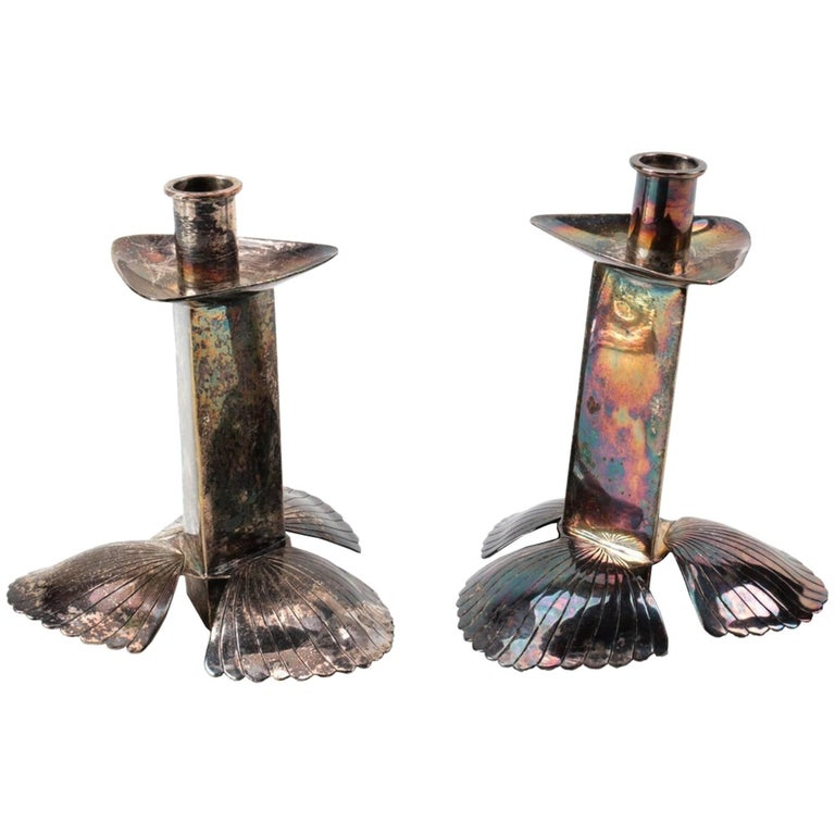 Mexican Modernist Candle Holders by Emilia Castillo, Silver Plated For Sale