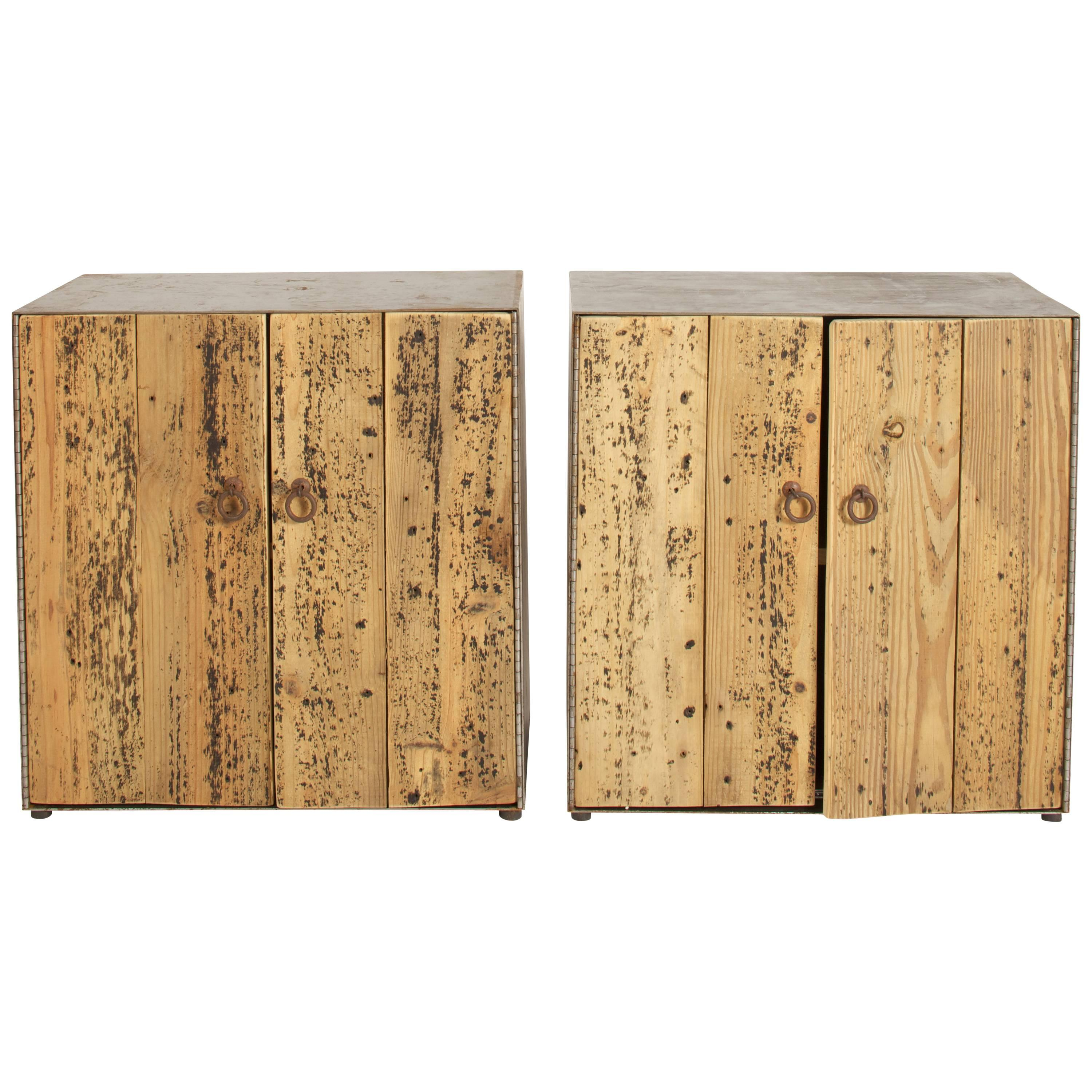 Rustic Pine And Steel Cabinets  Sold Singly