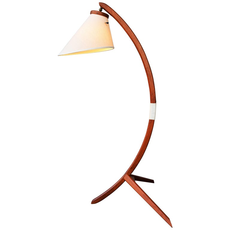 Danish Teak Arc or Bow Tripod Floor Lamp with New Bonnet Shade, Rispal Style For Sale
