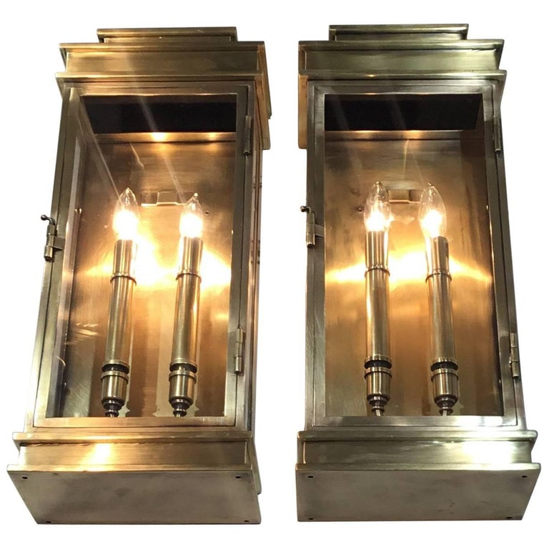 Pair of Brass Wall Mounting Lanterns
