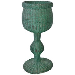 Green Wicker Basket Plant Stand