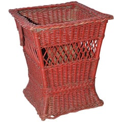 Red Wicker Trash Basket