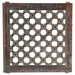 Antique Hand Carved Wood Window Screen Wall Decoration
