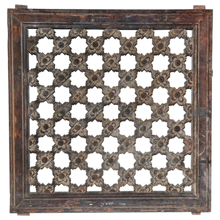 Antique Hand Carved Wood Window Screen Wall Decoration For Sale