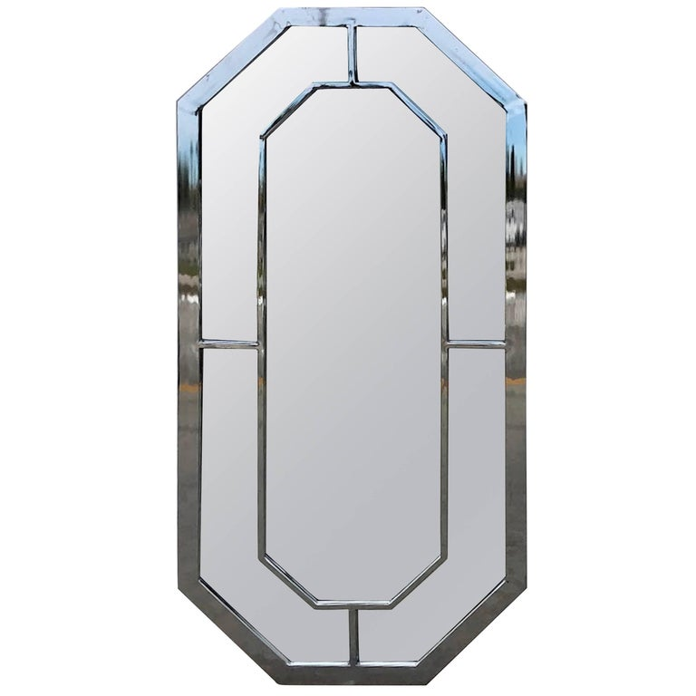 Milo Baughman Chrome Trellis Motif Mirror