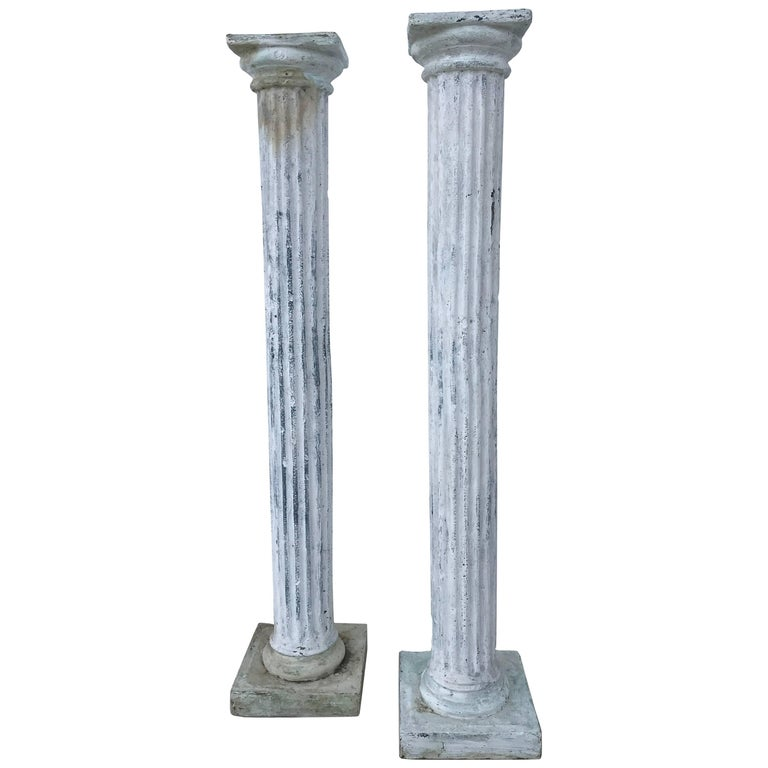 Pair of Tall Distressed Painted Doric Order Columns