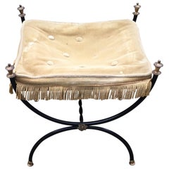 Stool in Lacquered Metal and Fabric, circa 1950