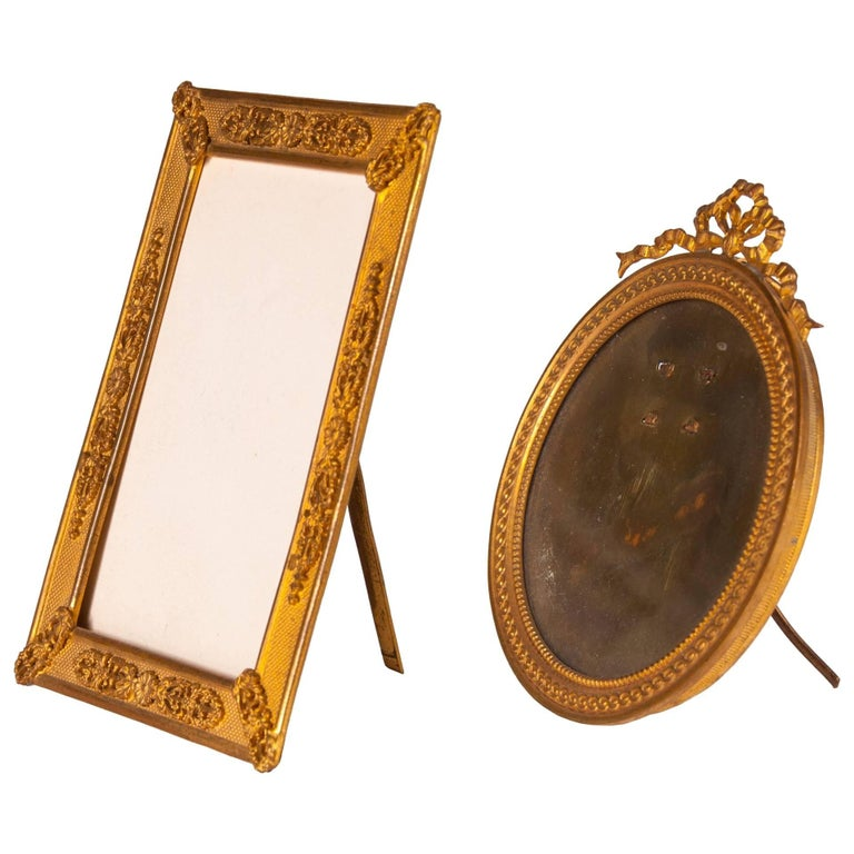 Two Antique Ormolu Standing Picture Frames