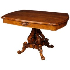 Antique French Centre Table in Walnut Wood Living Room from 19th Century