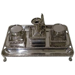 Antique Sterling Silver Victorian Inkstand Charles Stuart Harris, London, 1897