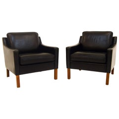 Pair of Vintage Leather Lounge Chairs in the Style of Borge Mogensen